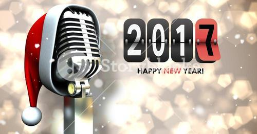 Composite image 3D of 2017 new year sign and santa hat on microphone