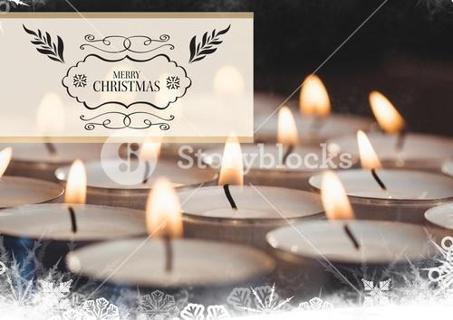 Digitally composite image of merry christmas message against tealight candles