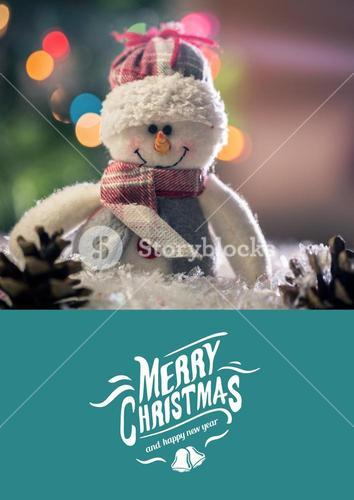 Digitally composite image of merry christmas and happy new year message with snow man