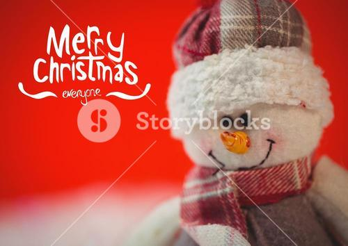 Digitally composite image of merry christmas with snowman
