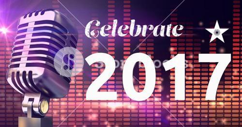 Digitally composite image 3D of 2017 new year message and microphone against equalizer background