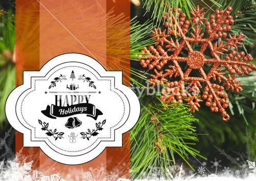 Digitally composite image of happy holidays message against christmas decoration