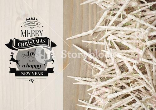 Digitally composite image of merry christmas and happy new year message with candles
