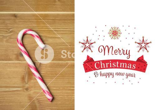 Composite image of merry christmas and happy new year wishes with candy cane