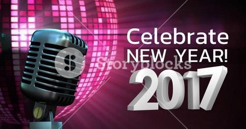 Digitally composite image of 3D 2017 new year message with microphone