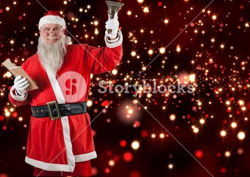 Santa claus holding envelop and christmas bell