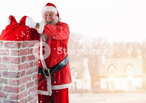 Santa removing gift sack from chimney