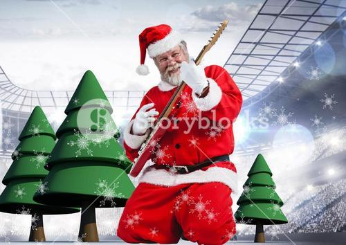 Santa playing electric guitar with 3D Christmas tree