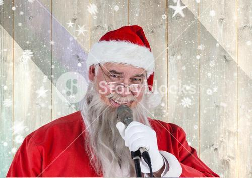 Santa singing christmas song on microphone