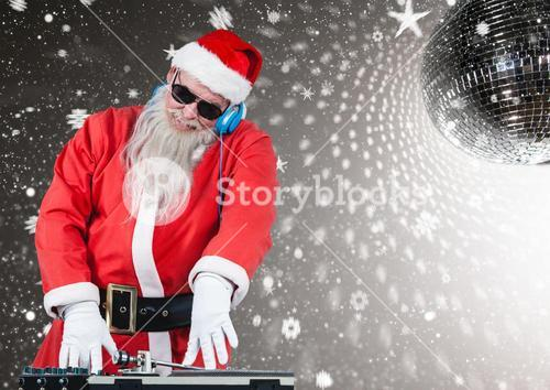 Santa playing dj in disco