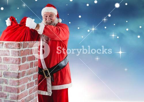 Smiling santa claus removing gift sack from chimney