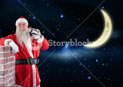 Happy santa claus standing with gift sack 3D