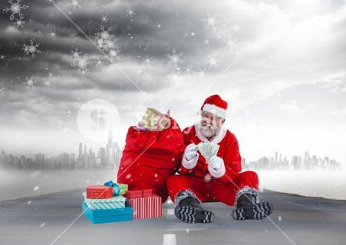 Happy santa claus with currency notes sitting next to christmas gifts 3D