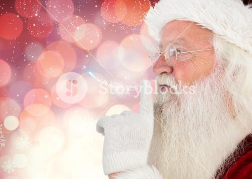 Santa claus with finger on lip