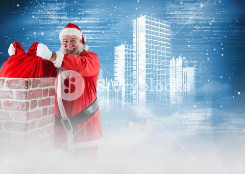 Smiling santa removing gift sack from chimney 3D
