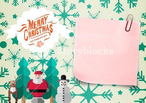 Close-up of 3D sticky note and christmas message