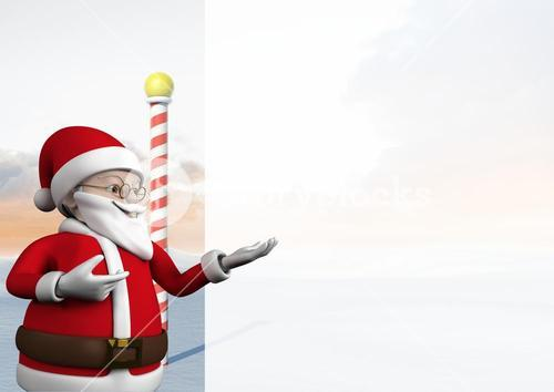 3d santa claus gesturing to copy space
