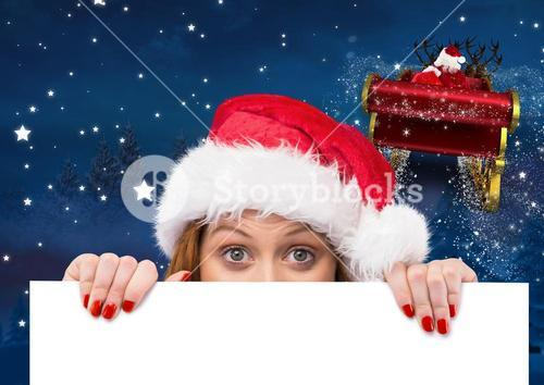 Woman in santa hat peeking from a blank placard 3D