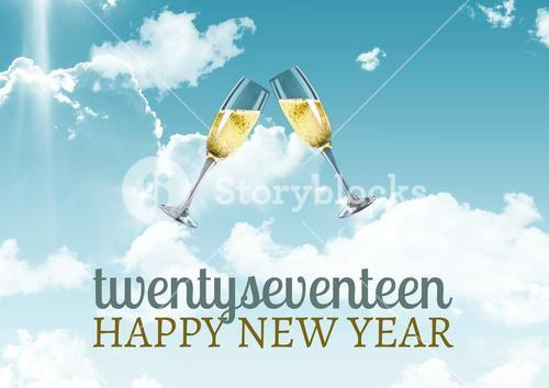2017 happy new year wishes with glasses of champagne