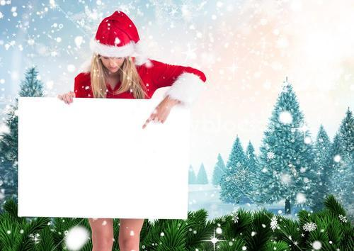 Woman in santa hat pointing at blank placard 3D