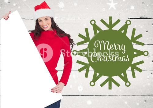 Woman holding blank placard with merry christmas greetings