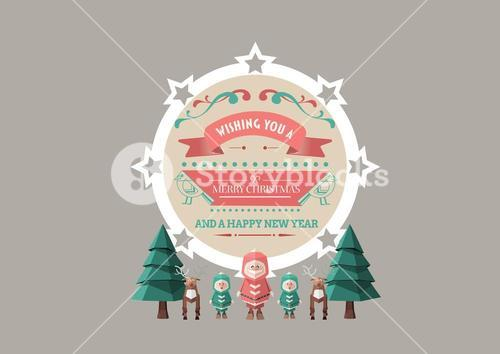 3D Illustration of tree, reindeer, human figures and merry christmas wishes