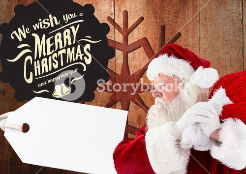Merry christmas greetings with santa claus holding sack