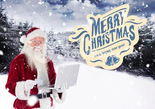 Merry christmas wishes with santa claus shopping online