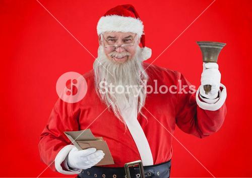 Santa claus holding envelopes and christmas bell