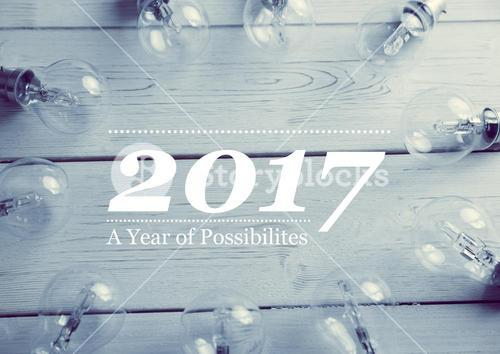 2017 new year wishes with electric bulbs