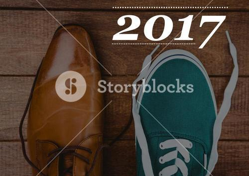 2017 new year wishes with formal and casual shoes