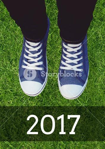 2017 new year wishes with teenager wearing sneakers