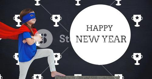 New year greetings against a composite image of girl in superhero costume