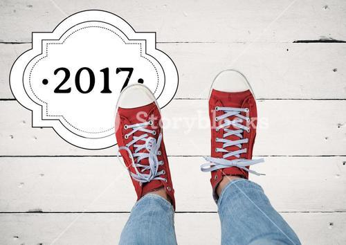2017 new year wishes with teenager wearing red sneakers