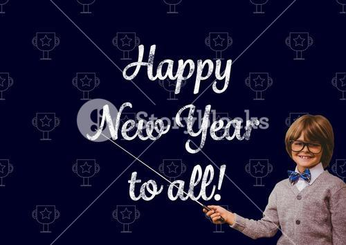 Smiling boy pointing with stick at new year greeting quotes