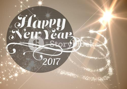 Happy new year 2017 on digitally generated background