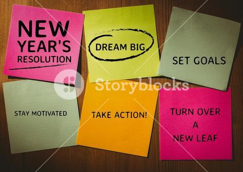 New year resolution goals written on adhesive notes
