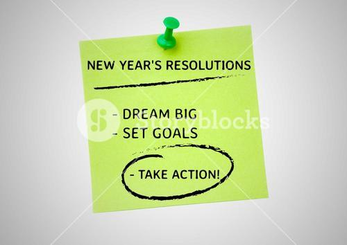 New year resolution goals written on sticky notes