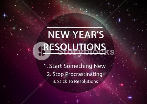 New year resolution goals against digitally generated background