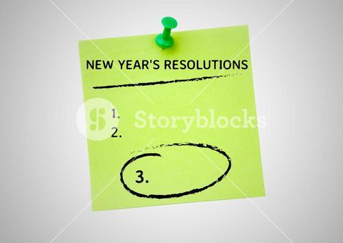 New year resolution goals on stickered note against white background