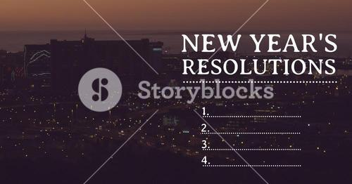 New year resolution goals against urban city in background