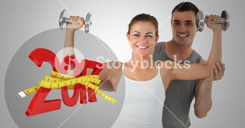 3D 2017 wrapped with measuring tape while a fitness couple exercising