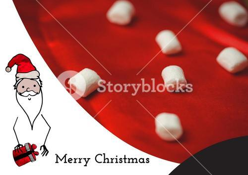 Composite image of merry christmas wishes with santa and marshmallows