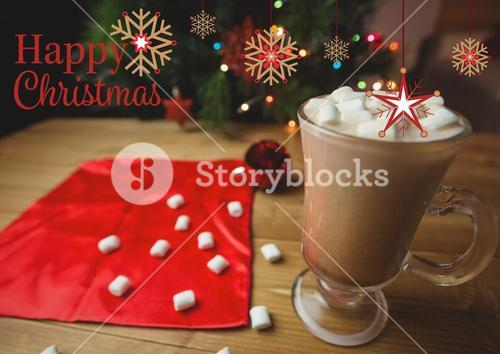 Happy Christmas greetings with coffee and marshmallow in glass