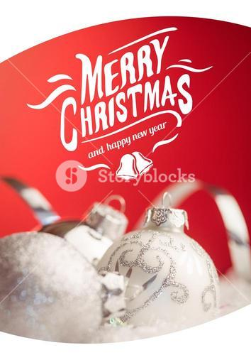 Merry christmas greetings with silver baubles