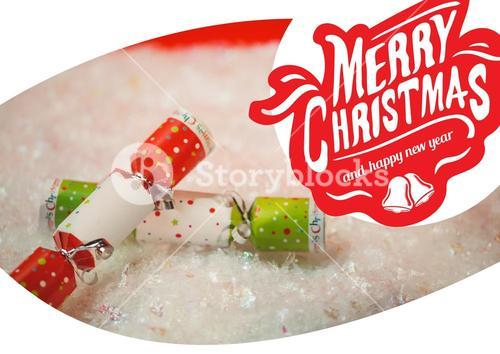 Merry christmas greetings with crackers