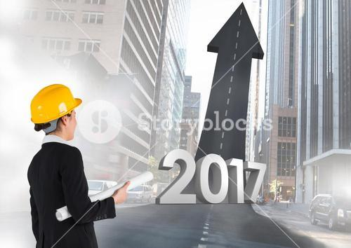 3D 2017 against a composite image of an engineer and road leading towards sky