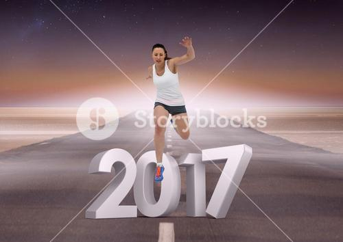 Composite image of 3D 2017 with sports girl running on road