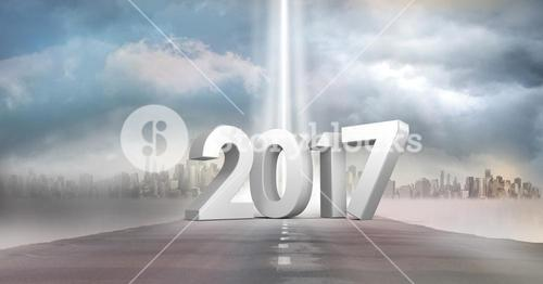 3D 2017 against a composite image of road in sky