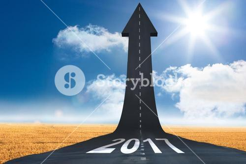 3D  Composite image of happy new year 2017